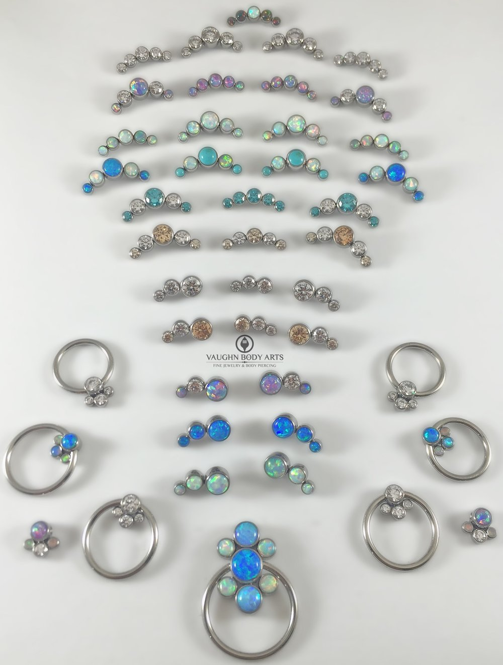 Selection of titanium gem clusters from Anatometal.