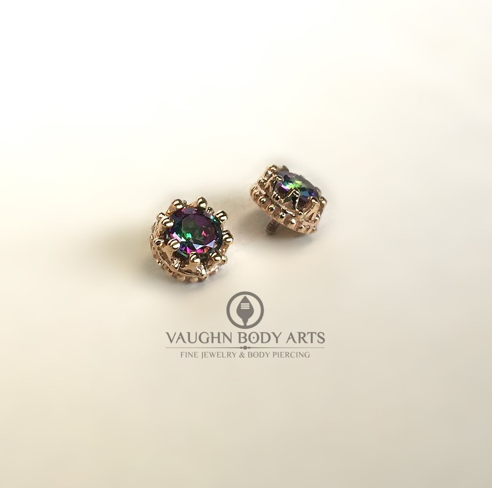 "14k yellow gold ""Crown"" ends from BVLA featuring mystic topaz."