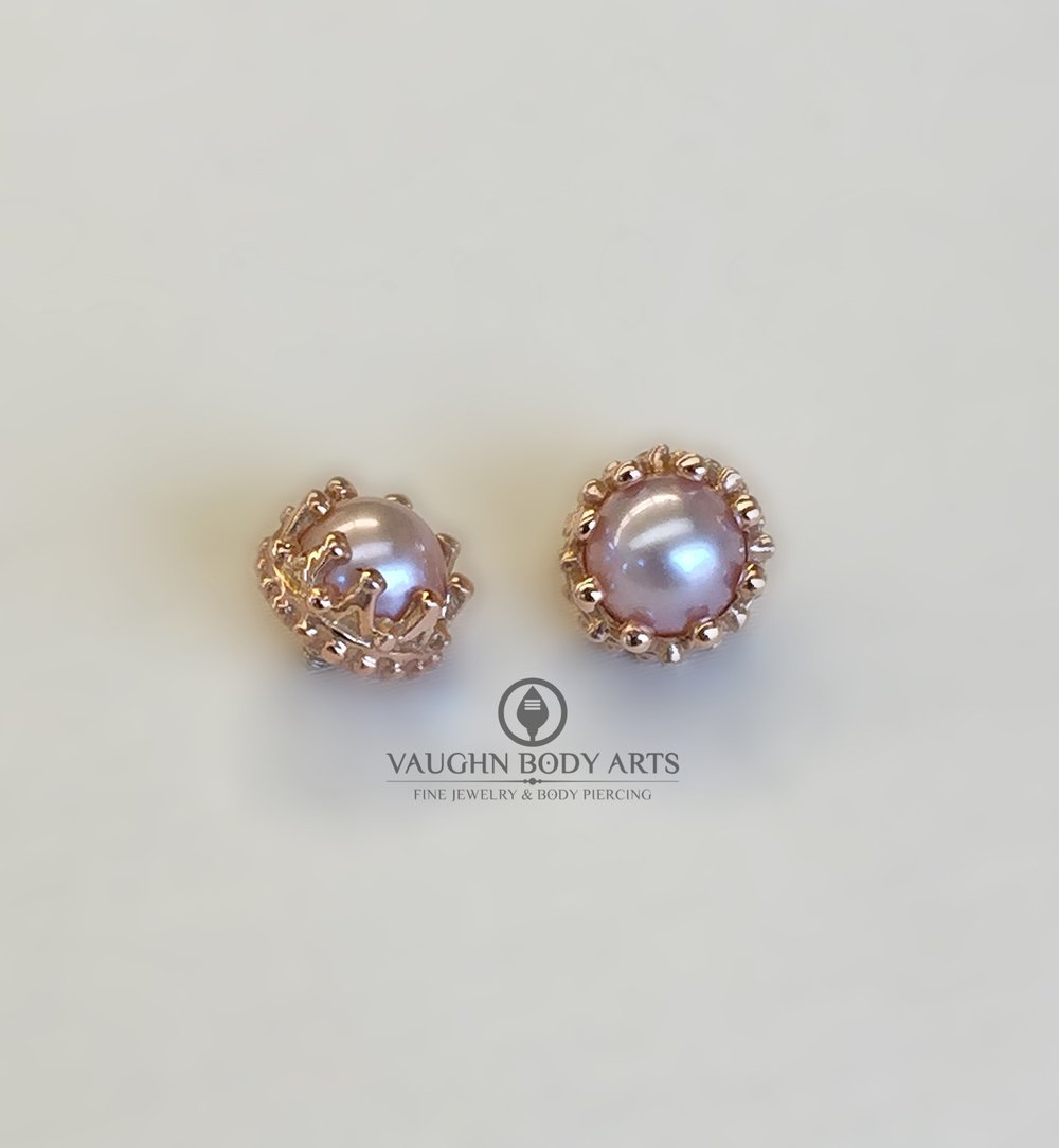 "14k yellow gold ""Crown"" ends from BVLA featuring genuine pink pearls."