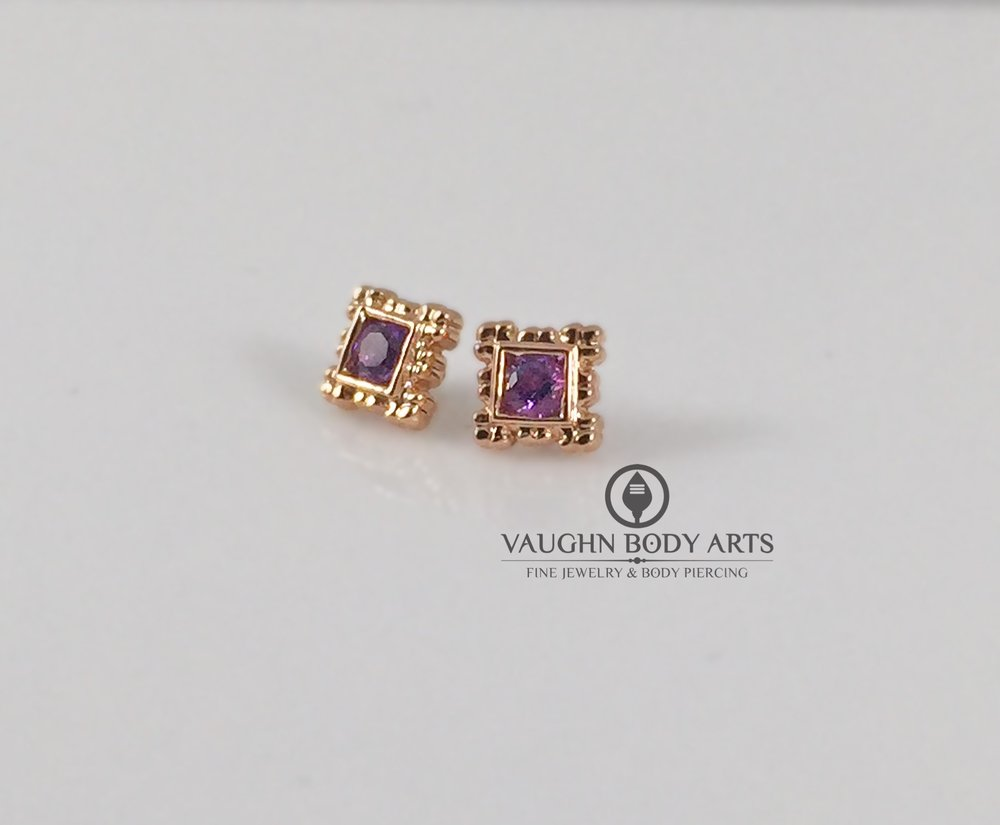 "14k rose gold ""Flourish Illusion"" ends from BVLA featuring genuine amethyst."