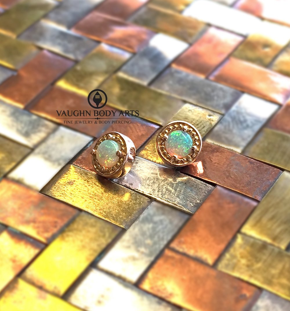 "14k rose gold prong ""Millgrain"" ends from BVLA featuring genuine white opals."