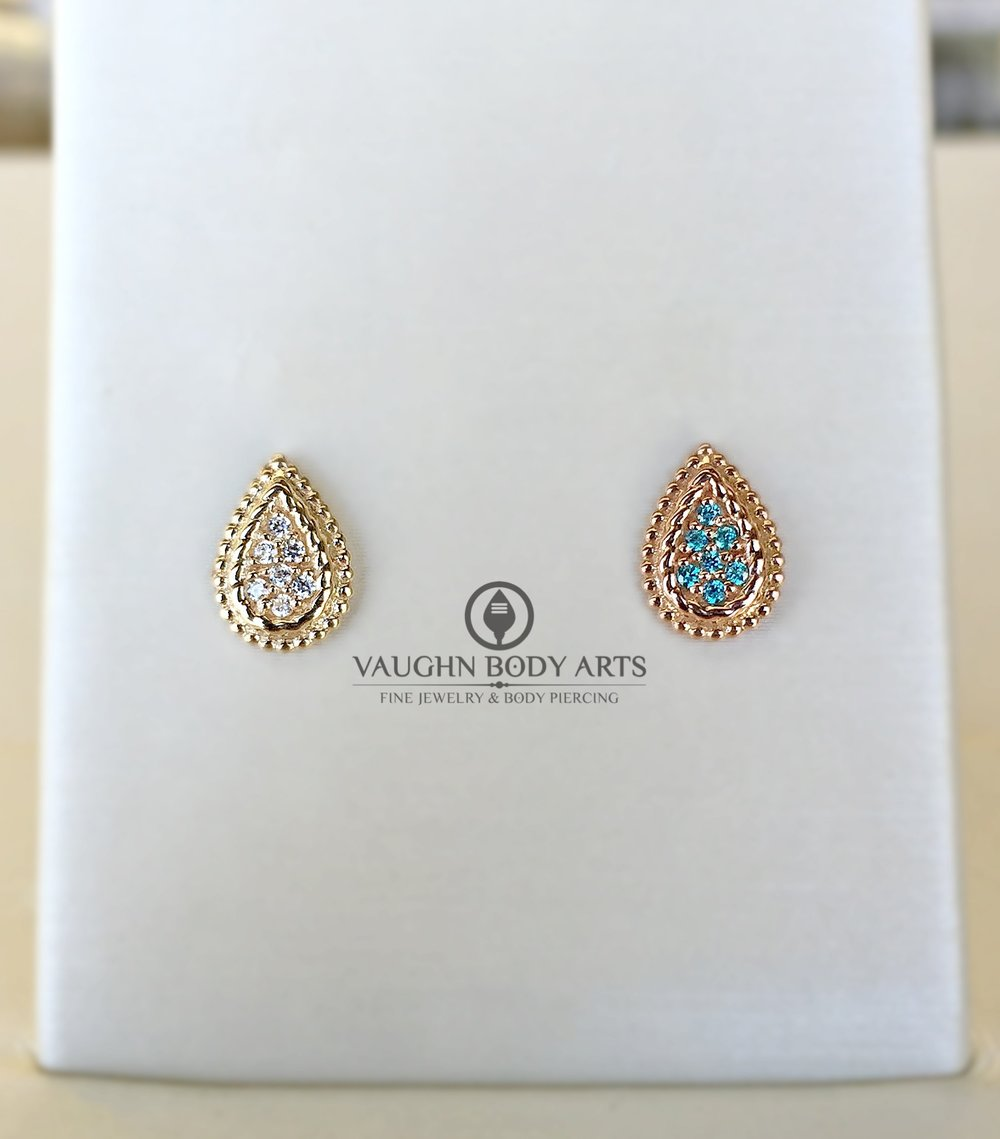 """Kendra"" threaded ends from BVLA, 14k yellow gold featuring clear cz's and rose gold featuring mint green cz's."