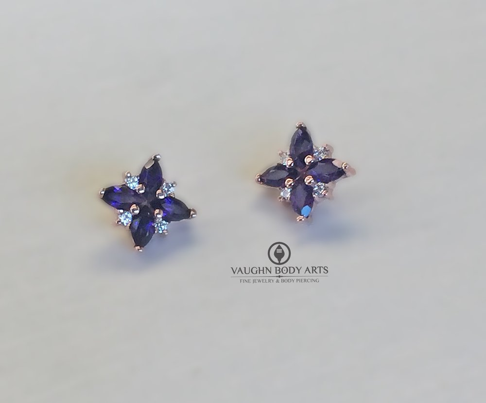 "14k rose gold ""Mini Pleades"" ends from BVLA featuring genuine amethyst and clear cz's."