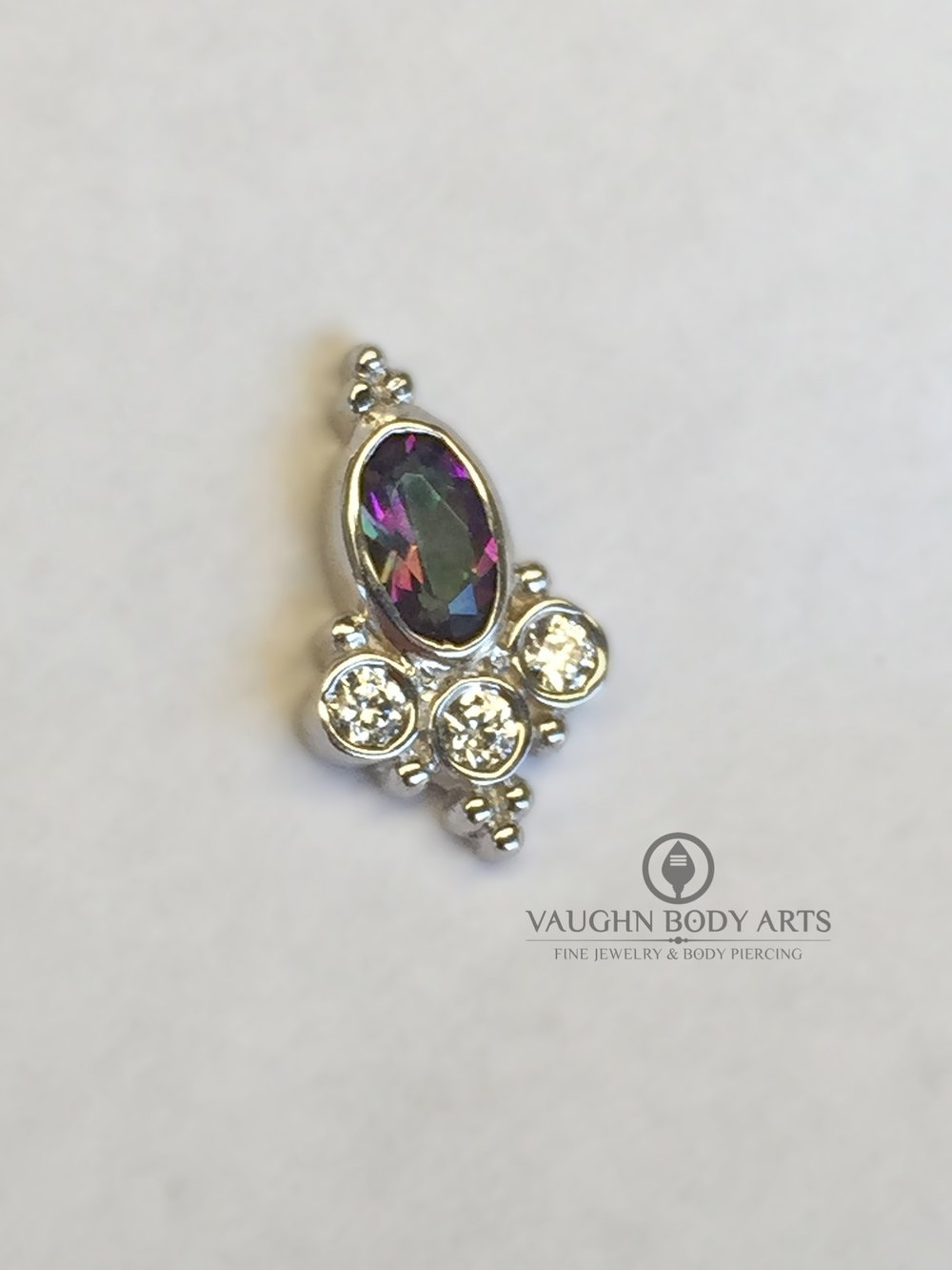 "14k white gold ""Sarai"" end from BVLA featuring mystic topaz and clear cz's."
