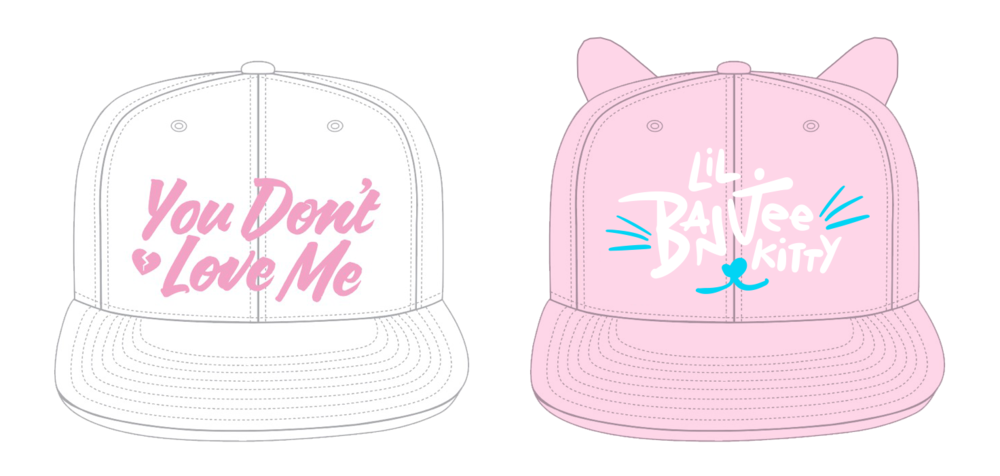 hand-drawn type snapback designs for  Farrah Moan  &  Aja