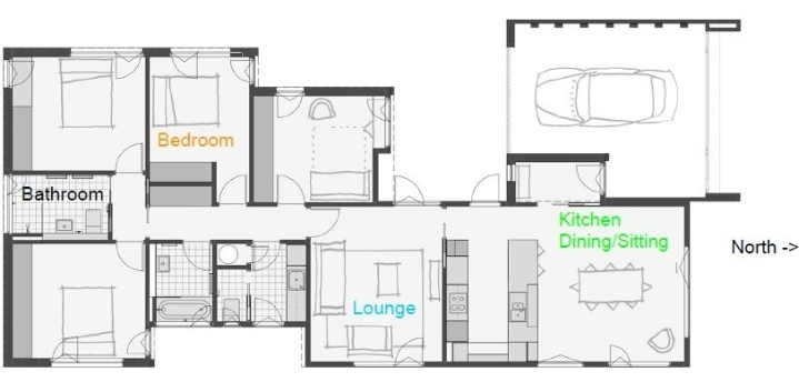 The floor plan of Jenny's home showing the location of the data loggers used to generate the graphs below.