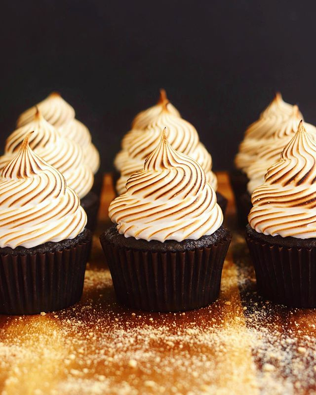 It's #nationalsmoresday and I just can't resist baking with the amazingly delicious combination that is chocolate, graham cracker and marshmallow! I also can't resist taking photos of my s'mores cupcakes each time I make them, like these toasted beauties from the other day! 😍
