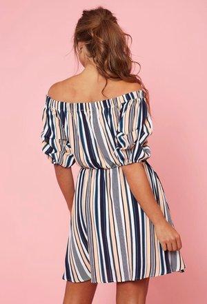 28cf30f338bbe8 Koket Boutique    Off the Shoulder Stripe Dress
