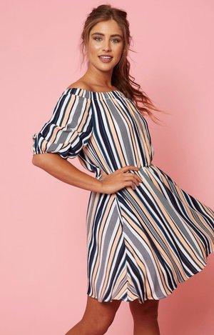 7def61e3a3c31a Off the Shoulder Stripe Dress. Koket Boutique ...