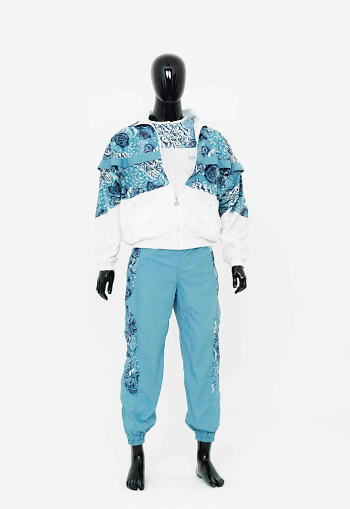"Willem de Rooij,  3-part tracksuit (jacket, t-shirt, pants), size L , 2015 , polyester and cotton embroidered tracksuit. From ""Stories of Almost Everyone."""