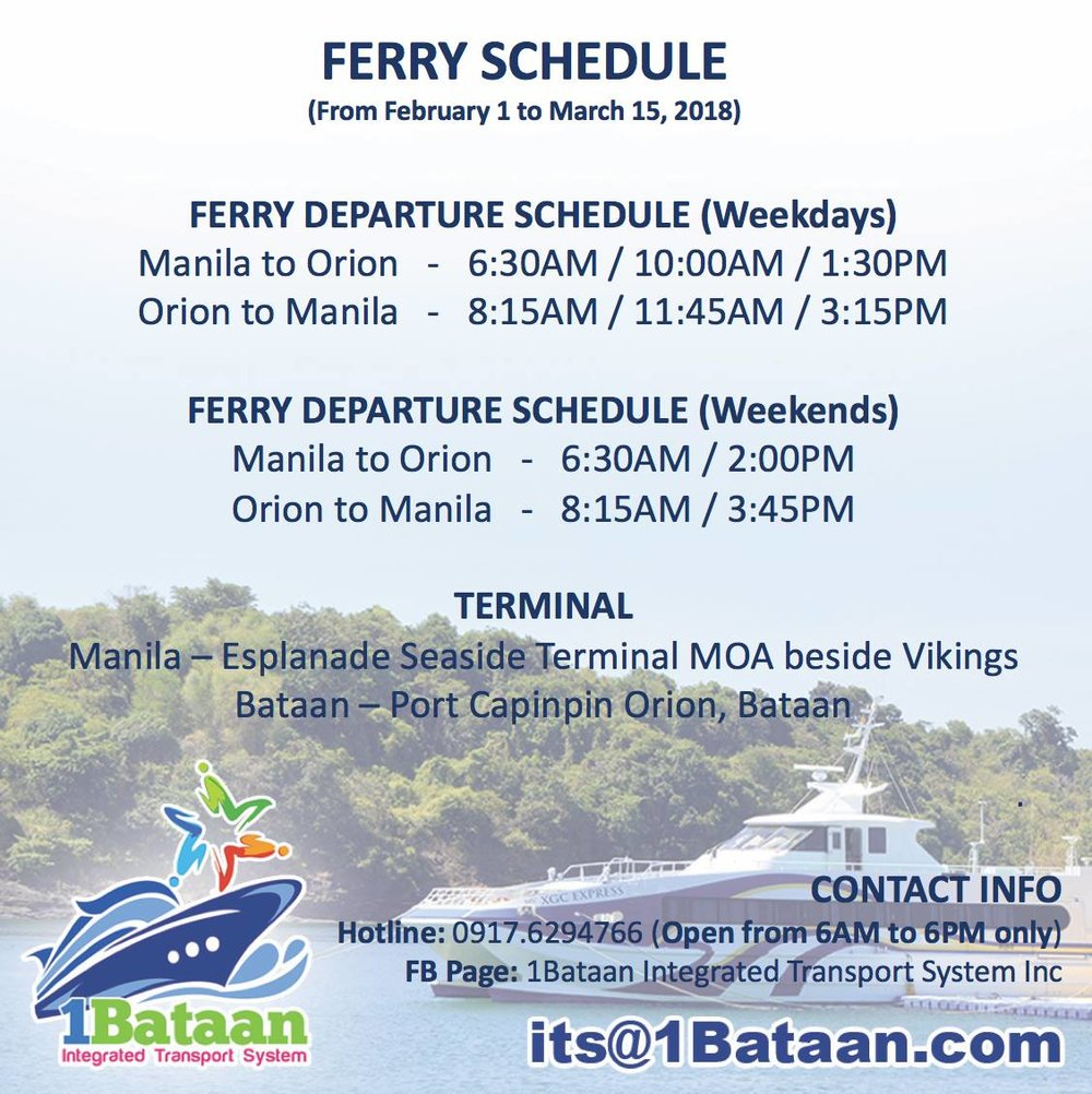 FERRY | 1BATAAN INTEGRATED TRANSPORT SYSTEM - 1Bataan Integrated Transport System is now accessible from February 1 to March 15, 2018. If you need to book a seat in the ferry we can reserve the seats for you.
