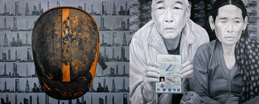 Yellow Helmet and Gray  House (2015) Synthetic polymer paint on canvas, diptych: 152.4 × 243.8 cm. Photo grabbed from artasiapacific.com
