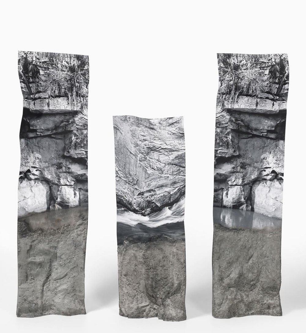 Reversed Geology,  2017-2018, Fine art print mounted on brass, mortar, Dimensions variable (93x44 approx),  photo grabbed from http://www.lehila.net