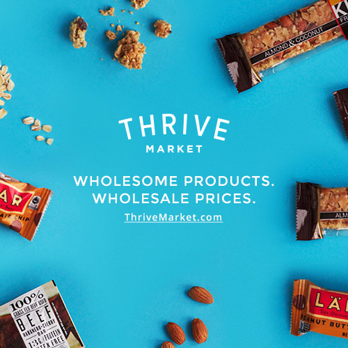 Thrive Market offers the best-selling natural and organic products at wholesale prices through a $60/year membership. Think Costco meets Whole Foods online, and for every paid membership Thrive donates one membership to a low-income American family.