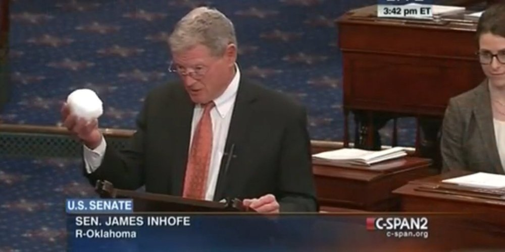 Republican Senator James Inhofe of Oklahoma is the Chairman of the U.S. Senate Environment and Public Works Committee, and the most vocal critic of the scientific consensus behind climate change. Any and all environmental legislation must go through him if it plans to goes anywhere. To prove his belief that climate change is a hoax, Inhofe tossed a snowball on the Senate floor. He also wrote the book The Greatest Hoax: How the Global Warming Conspiracy Threatens Your Future.
