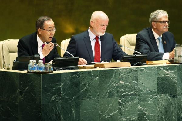 Secretary-General Ban-ki Moon at the adoption of the New York Declaration. Photograph courtesy of UPI.