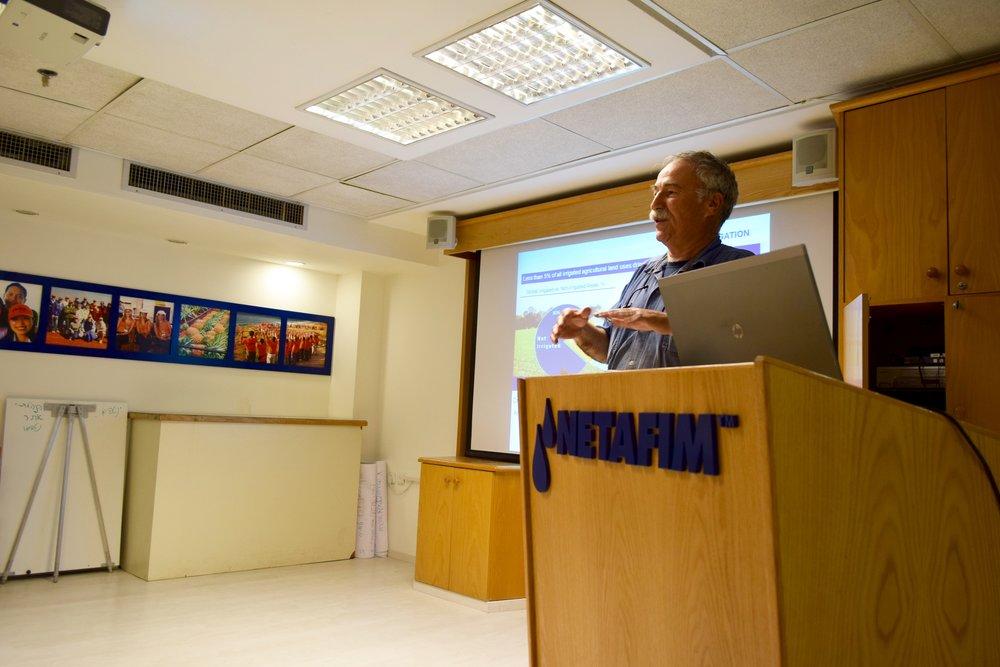 Netafim employee Ron Keren speaking with the delegation. Photo by Savannah Miller.