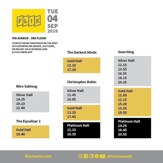 Jadwal FLIX PIK Avenue untuk hari ini: 4 September 2018. Kamu juga bisa cek jadwal + booking online tiket filmmu dengan mendownload app FLIX. Selamat menonton!  #GueKeFLIX #FLIXcinema #bioskop #bioskopindonesia #pikavenue #pikave #pikaveFLIX