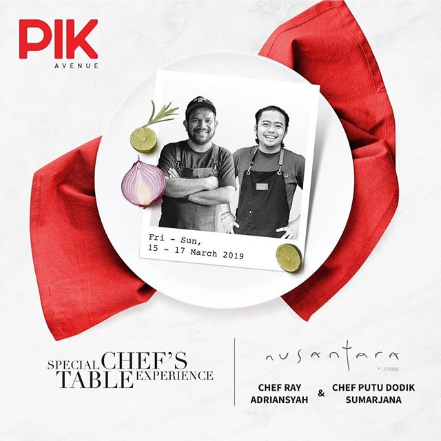 Don't miss the upcoming Chef's Table with @restaurantnusantara @restaurantlocavore (Chef Ray Adriansyah and Chef Putu Dodik from Bali). Locavore is #21 on the prestigious Asia's 50 Best Restaurants and they are coming exclusively to Mercure Jakarta PIK in 5 dining sessions only. This is a rare opportunity for you food enthusiasts, presented by @pikavenue & @MercureJktPik - Dinner, 15 March 2019 Lunch & Dinner, 16-17 March 2019 IDR 600,000 ++ / person Special discount for @sedayuone members. - Call: 021 22571000 or email H9021-FB@accor.com now. Tables are limited. - #MercureJakartaPIK #GoodFoodGoodMood #ChefsTable #Locavore #NusantarabyLocavore #PIKAvenue #Chefs #Restaurant #Bali