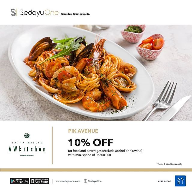 Privileges . Exclusive for @sedayuone member . Get 10% OFF @awkitchenjkt @pikavenue . Terms & conditions apply, download SedayuOne app now! . Great fun. Great rewards. . #PIKavenue #PIKaveeat #PIKaveshop #PIKaveevent