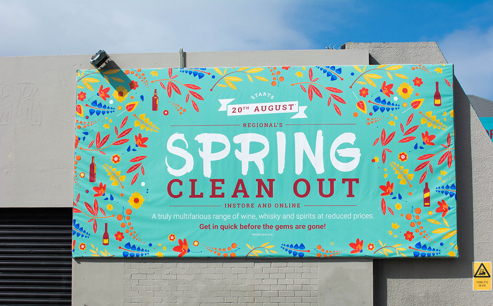 Advertising - Regionals needed new campaign assets, and needed them fast. With a tight deadline of just a week, we designed aesthetically engaging imagery to promote the Spring Clean Out, an instore, online and print campaign which demanded web banners, instore product cards and a colossal billboard, too!