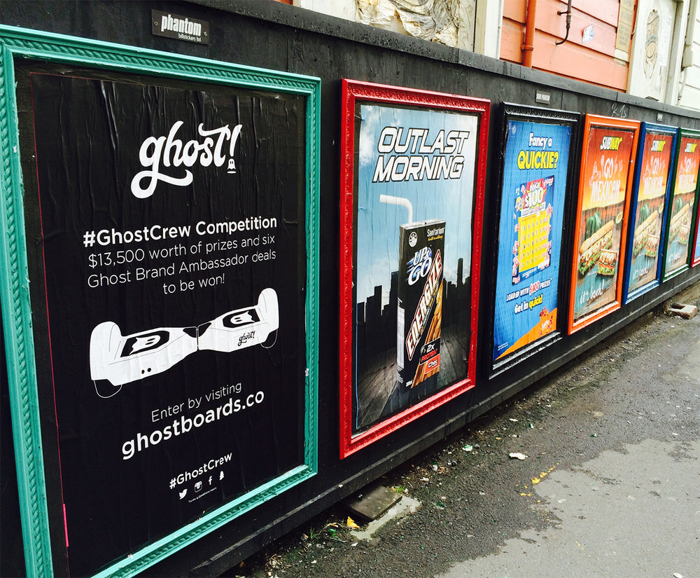 #Ghost Crew - We designed two unique and engaging posters in pursuit of the #GhostCrew. We strategically placed these in high-traffic locations throughout Auckland, Dunedin and Christchurch, resulting in an increase in brand trust and awareness. Digital advertising was implemented with video ads, display ads and remarketing display ads being utilised. We set out to engage an untapped market of diverse Kiwis - from thrill seekers to tech addicts and everything in between, and we did. Over the three week campaign an average of 500 unique visitors per day were successfully referred to the Ghost Boards website.