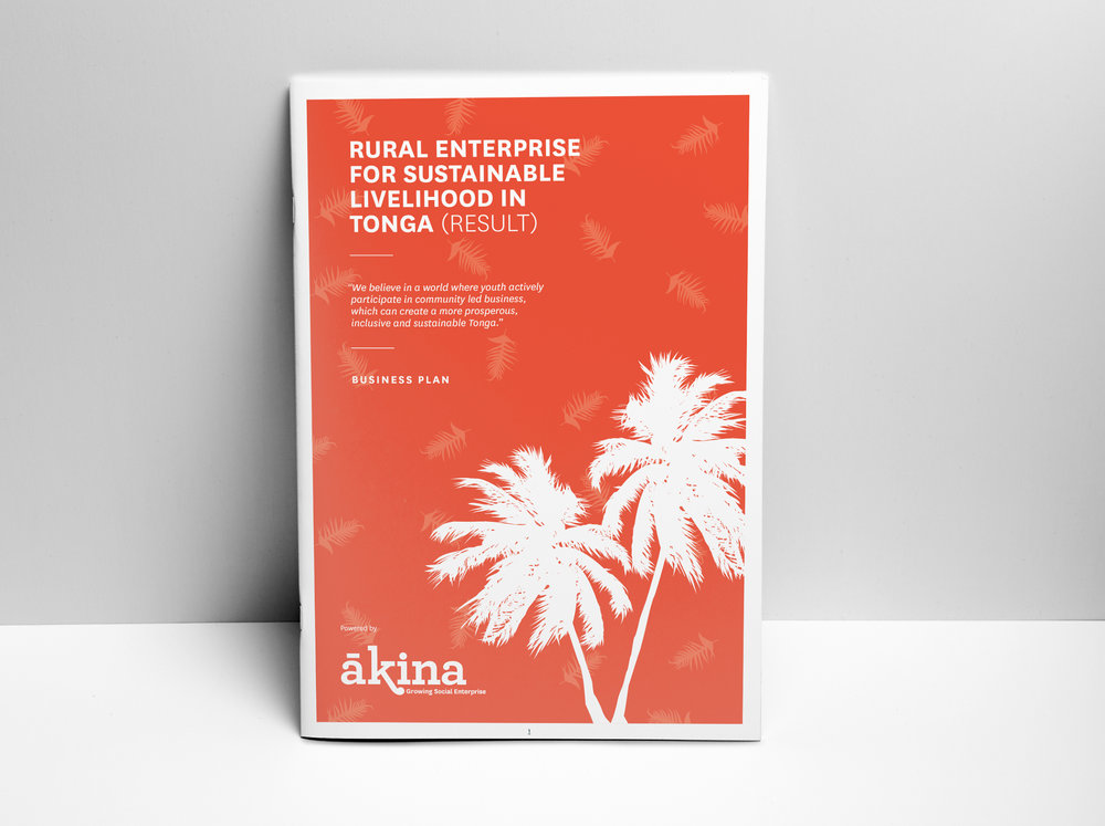 Business Plan Design - Working within the Ākina Foundation branding, we were able to have a little fun with this business plan through the use of Pacific Island symbology (think palm trees and fronds).