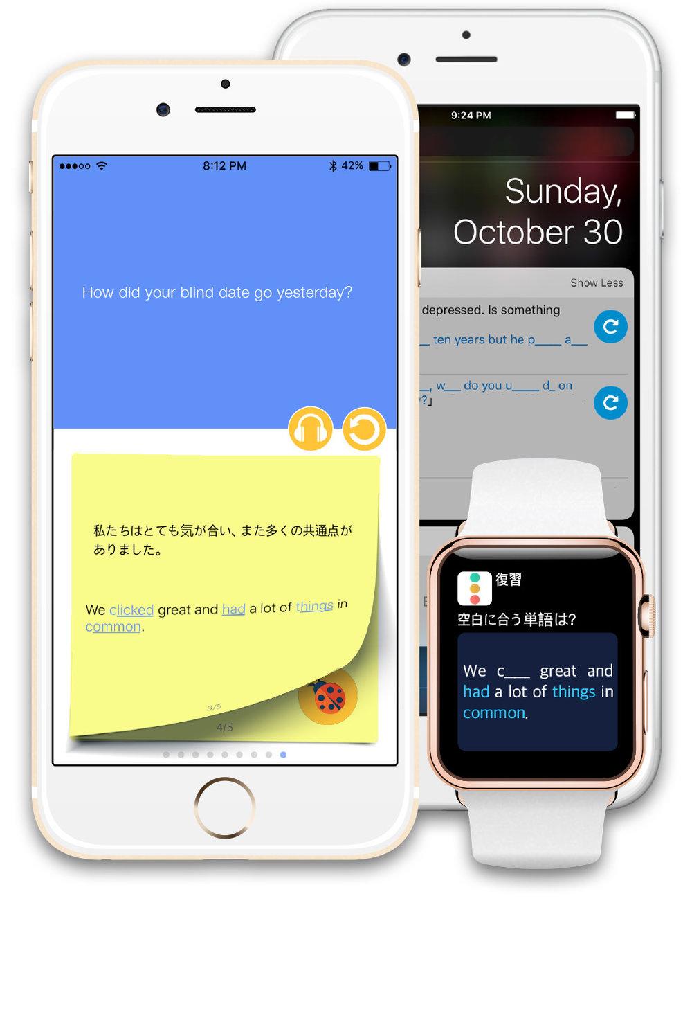 このアプリには通知センターの'ウィジェット'学習や通知クイズ学習、アップルウォッチを利用した学習、またリスニング専用モード、毎日の新規表現プッシュ通知など、多彩な学習方法があります。 「8-STEP英会話」
