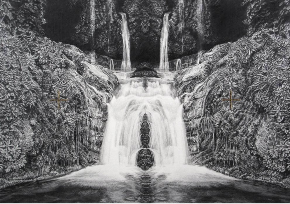 Immaculate Landscape V, graphite pencil and 24kt gold leaf on paper, 53x40cm 2015.