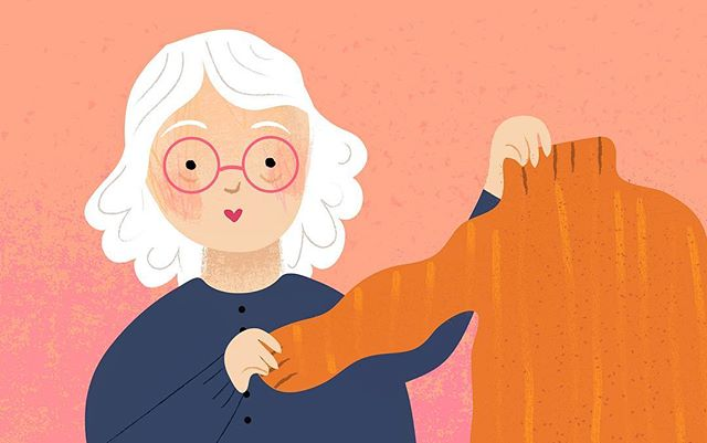 A fashion article illustration- grandma's hand me downs! 😋 #illustration #editorial #artistsoninstagram #illustrator #orange #fall #october #sanfrancisco #losangeles #illustrator #editorial #grandma #fashion