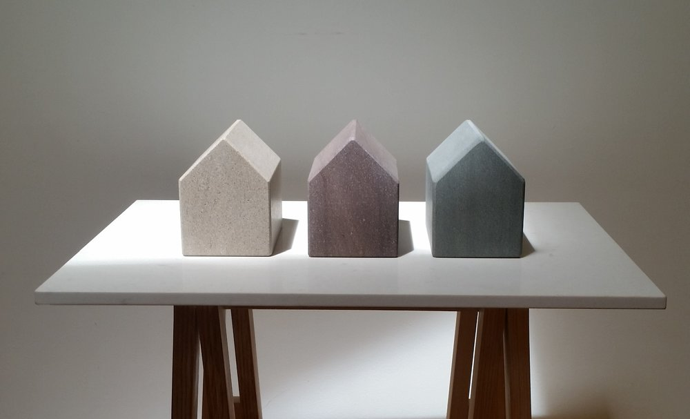 Putting Down Roots (detail) - stone houses on a Caesarstone and pine base