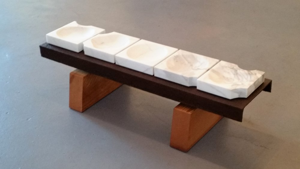 Anomaly bowls - marble, rusted steel beam, cedar