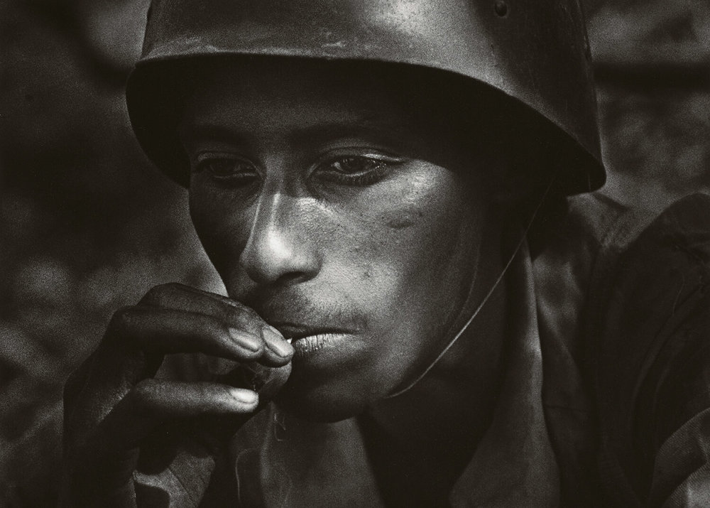 Gerilla soldier took his helmet from a killed Ethiopian soldier. Gondar province of Ethiopia 1987.