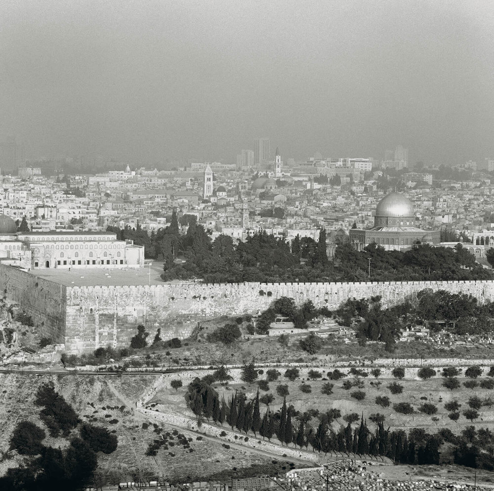 View over east and west Jerusalem from the Mountain of Olive.