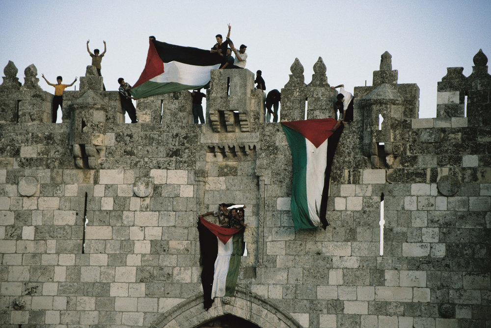 Damaskus Gate, Jerusalem. September 13, 1993 when the Palestinian flag was allowed by Israel.