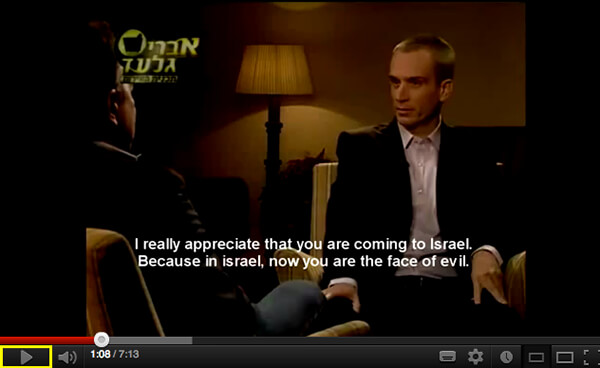 "Called ""evil"" in Israeli talkshow"