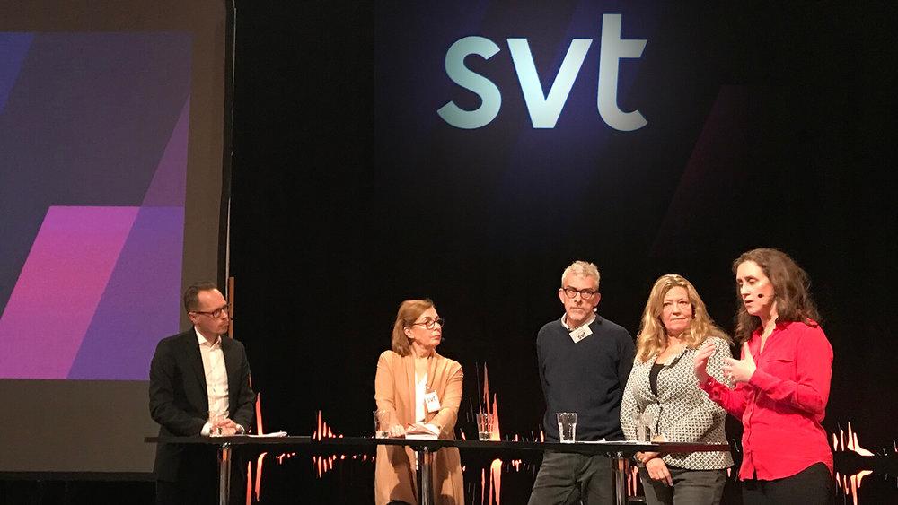 SVTs VD Hanna Stjärne berättar om SVTs syn på framtida finansiering av public service under en paneldebatt i tv-huset.