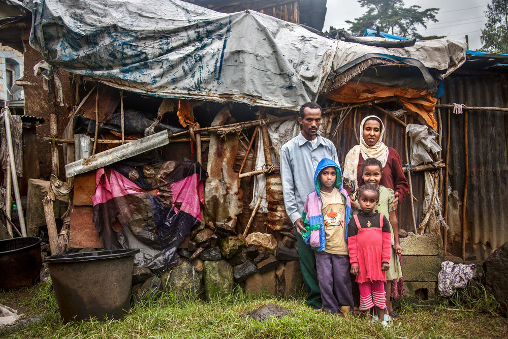 Ethiopian family in Addis Ababa. With support and education they are self-sufficient in vegetables.