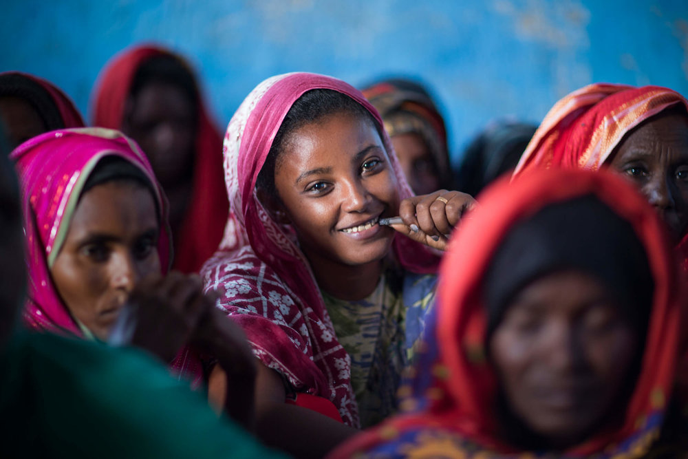 Women in the Afar region meet to talk about how to stop female genital mutilation.
