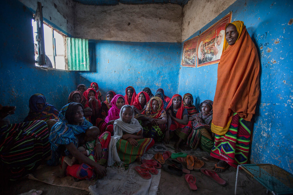 Women in the Afar region meet to talk about how to stop female genital mutilation. 75 percent of the country's girls are victims of female genital mutilation.