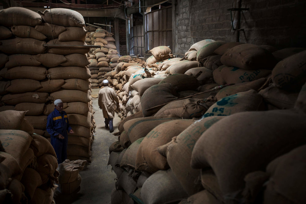Export stock of coffee in Addis Ababa, Ethiopia.