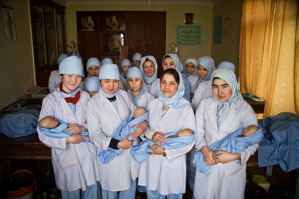 Afghanistan. Midwifery students in the city of Aibak in the province Samangang.