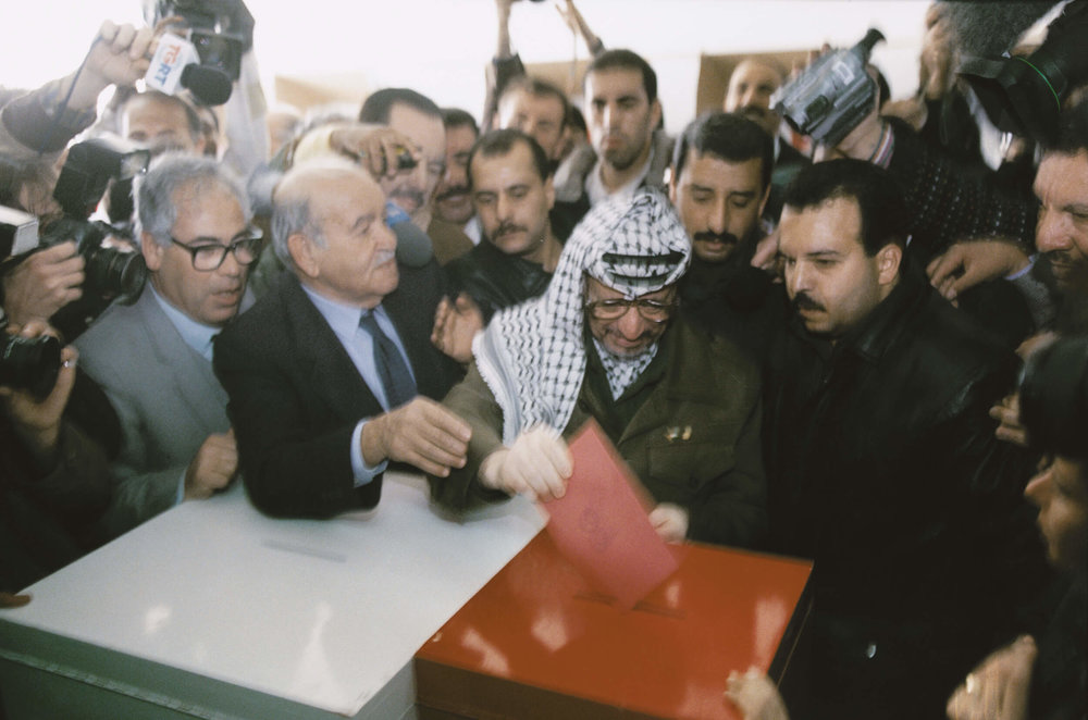 Gaza January 1996. PLO Chairman Yassir Arafat vote in the first Palestinian elections ever.