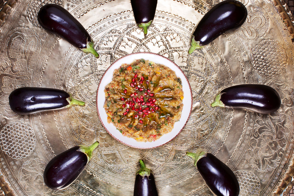 Cold Meze. Baba ganoush. Stir on eggplant, peppers, garlic and lemon.