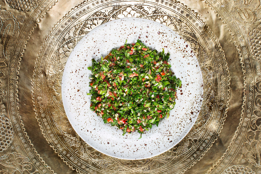Cold Meze. Tabbouli. Chopped parsley with tomato, onion, bulgur and lemon.