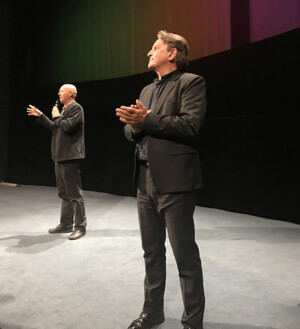 The Producer Folke Rydén and Co-director Donald Boström presenting the film at Filmhuset in Stockholm.