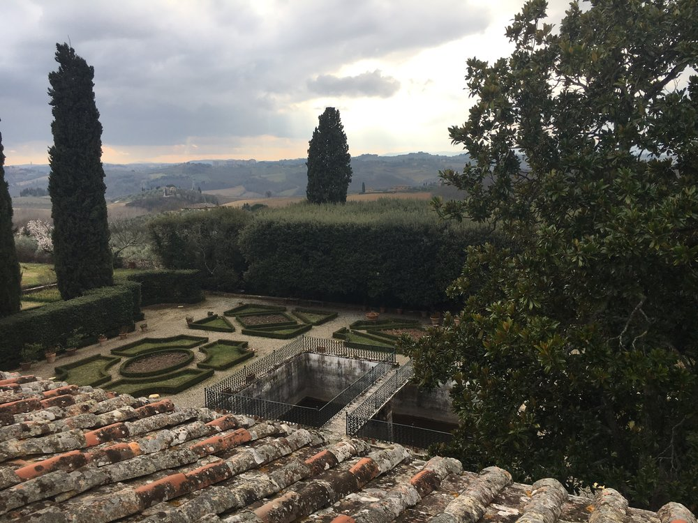 View of the Tuscan hills from Certosa di Pontignano