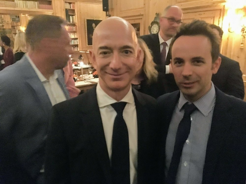 With Jeff Bezos at the Axel Springer Awards in Berlin, 2018.