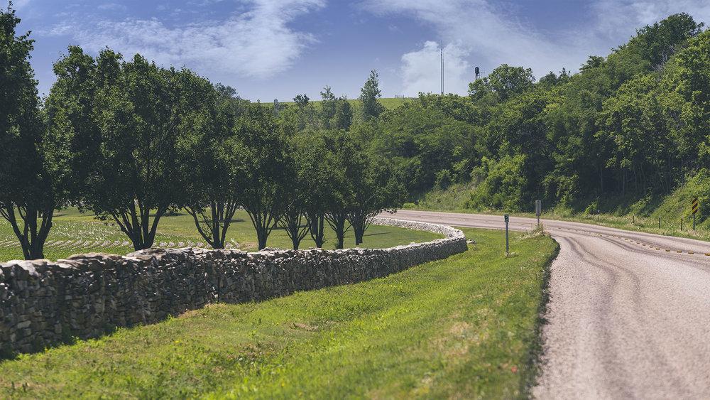 Hand-laid stone fence near Matfield Green
