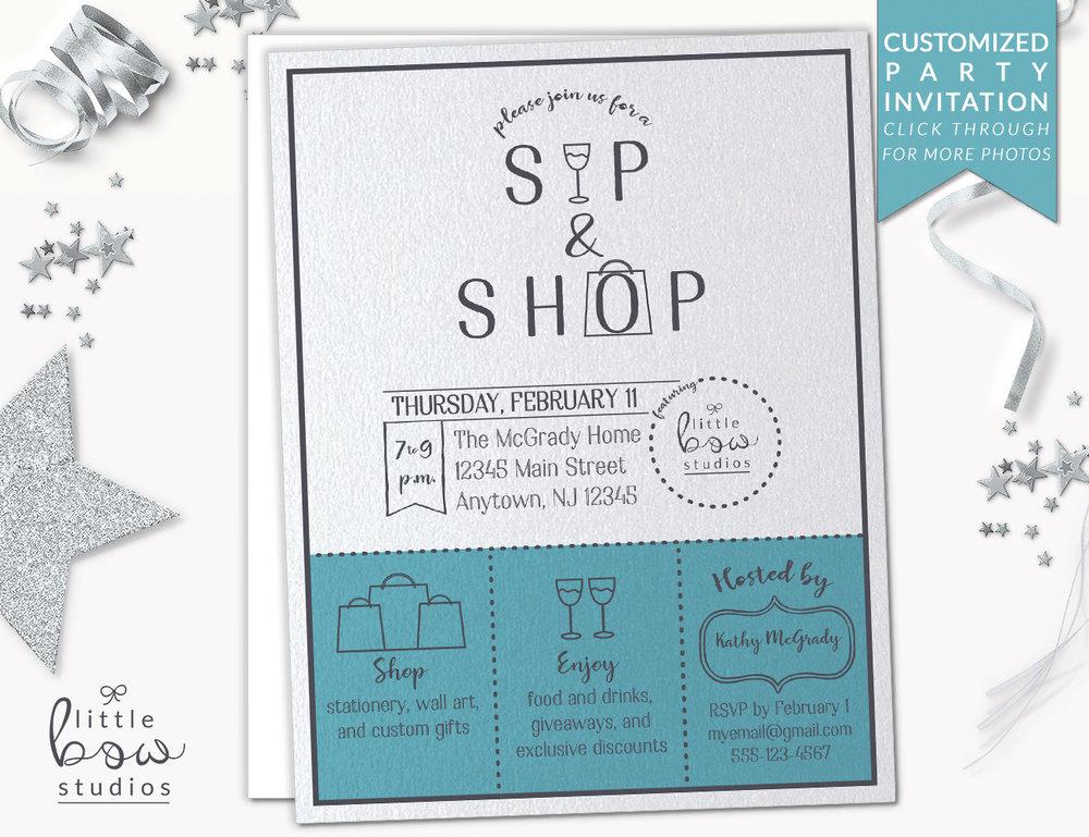 Sip and Shop Printable Invitation Lularoe Invitation Arbonne Party